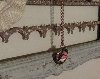 Copper Bird & Flower Locket Necklace