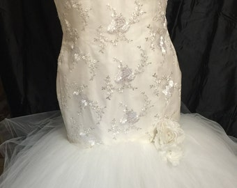 Custom made Wedding Gown, embroidered fabric and tulle