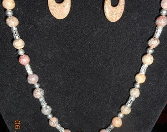 Mother Earth's Jasper Elegance Necklace and Earrings Set