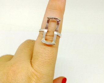 Rectangle Bezel Ring Setting, Solid 925 Sterling Silver, Size 8.25, Statement Ring, 9x20mm  Ring Mounting, Ring Base, Handmade Ring,PC4102