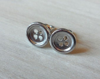 Sterling Silver Button Earrings, Handmade Studs Button Screwback, Small Buttons, 925 Sterling Silver Round Studs, Everyday Silver Jewelry