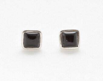 Black Onyx Stud Earrings - Silver Earrings - Stud Earrings - Gemstone Earrings - Black Onyx Silver Earrings - Handmade Earrings