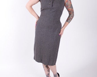 Stunning Vintage 1950s Wool Wiggle Dress