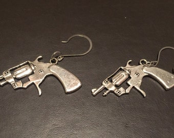 Silver Pistol Earrings