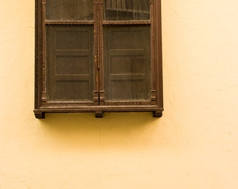 Elaborate wooden window shutters with carved arches, Xativa, Spain