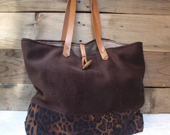 Tote bag, anymal print fabric and wool fabric brown
