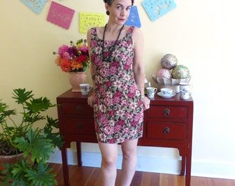 Stitch Vintage : Autumnal Floral Tank Shift Dress