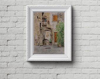 Printable watercolor painting. Italian medieval village