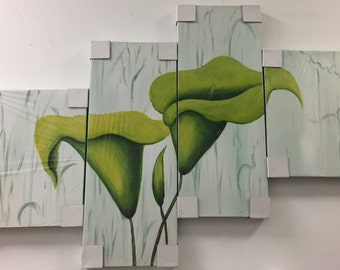 Green Tulips Abstract Acrylic Painting