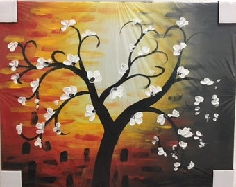 Abstract Cherry Blossom Tree Acrylic Painting