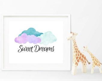 Sweet Dreams Printable Nursery Art, Watercolor Cloud Nursery Print, Sweet Dreams Wall Decor, Sweet Dreams Sign, Nursery Wall Art