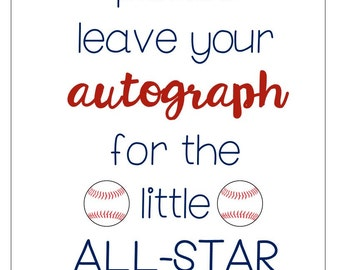 Baseball Baby Shower Signs/Tags