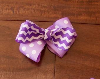 Purple Polka Dot Bow, Purple Striped Bow, Purple Bow, Purple Hair Accessory