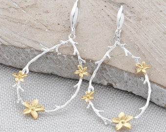 Handmade, Brushed Sterling Silver 925 and 9k Gold Plate Flower Blossom and Branch Drop Earrings