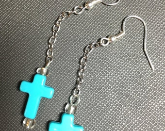 Blue Cross with Chain
