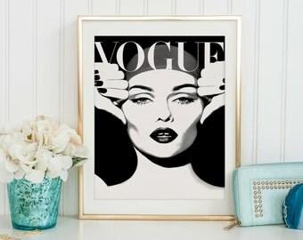 VOGUE MAGAZINE, Vogue Decor, Vogue Cover,Fashion Illustration,Fashionista,Modern Wall Art,Home Decor,Vogue Poster,Vogue Paris Original