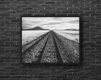 Railway Photo - Railroad Photo - Rail Photo - Road Photo - Train Way Photo - Black and White - Wall Art - Wall Decor - Office Wall Art