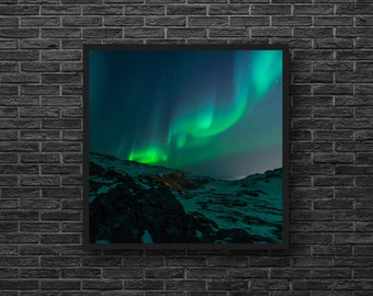 Aurora Borealis Photo - Polar Lights Photo - Northern Lights - Sky Photography - Sky Wall Decor - Square Photo - 8x8 - Blue Green Wall Decor