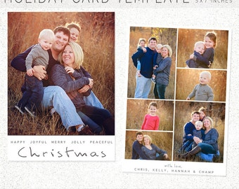 HOLIDAY CARD TEMPLATE, 5X7 Photoshop Template, Instant Download