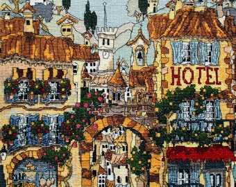 Completed Cross Stitch of Houses of Provence, Completed Cross Stitch embroidery, Finished Cross Stitch