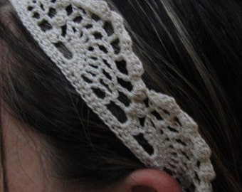 Handmade White Crochet Lace Headband
