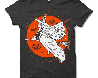 The Witch's Moon Halloween T Shirt. Funny Halloween Gift.