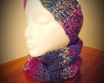 Ear Warmer Neck Warmer Set-Custom-Winter colors-Fall colors-purple and blue-fall leaves-scarf-matching set-winter headband