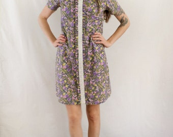 Vintage 1960's Purple Leaf Dress