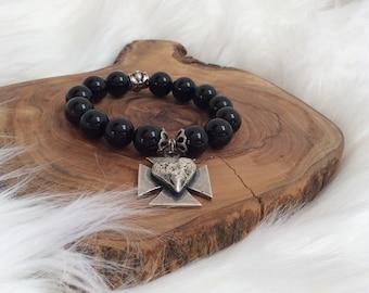 Black Onyx Beads and Cross/Heart Charm  Bracelet