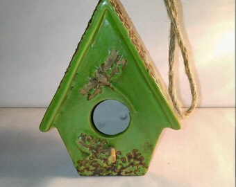 REDUCED to SELL Ceramic Decorative Green Birdhouse perfect for Mother's Day