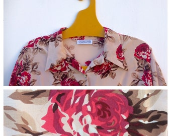 Cacharel Roses and Cream Silk French Vintage Shirt