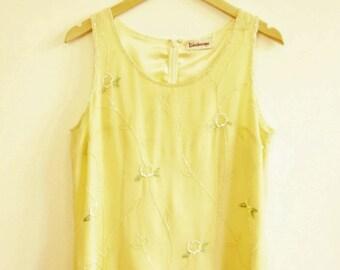 Vintage beaded embellished lemon yellow vest 1980s size 14