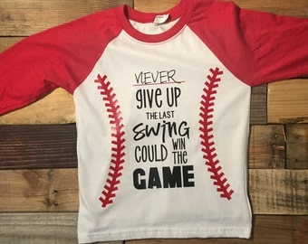3/4 raglan tee - never give up