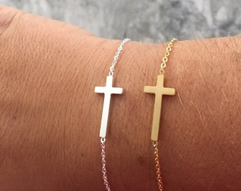 Sideways Cross bracelet dainty cross bracelet minimalist bracelet minimalist jewelry tiny cross bracelet small cross
