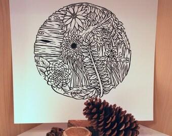 linocut print // floral orb I // botanical nature art // flowers weeds grass fence wood // handmade print by blackwood prints
