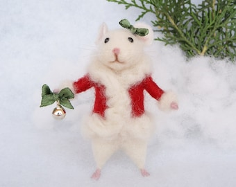 Needle felt mouse Christmas mouse White mouse Needle felt animal Christmas decor Birthday gift Home decor