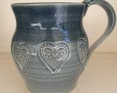 Hand Made Pottery Ceramic Mug With Heart, Valentines Day Gift, Blue Grey Glaze, Stoneware, Wheel Thrown