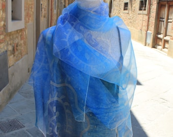 Hand painted silk scarf, Silk scarf made in Italy, Silk Scarf hand made by artist. Blue silk scarf, Scarves for women,Silk Cloth,Light scarf