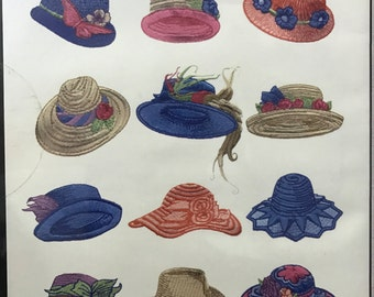 12 Vintage Hats machine embroidery designs on CDROM by EZSewDesigns