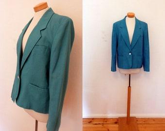 vintage 80s blazer / cool turquoise jacket / vintage dandy blazer