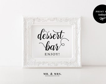 Dessert Bar Sign, Wedding Refreshment Sign, Dessert Table Sign, Calligraphy, Treat, Candy, PDF, Reception Sign, Wedding Printable, MAM202_09