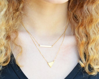 Skinny Bar Necklace, Gold Bar, Thin Bar Necklace, Silver Layering Necklace, Dainty Necklace, Bridesmaids Gifts