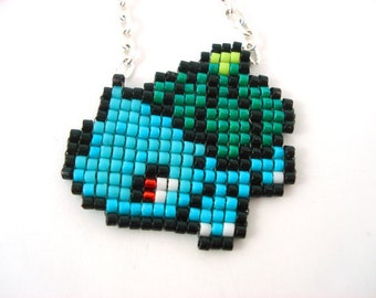 Bulbasaur Necklace - Pixel Necklace Pokemon Necklace Pixel Jewelry 8 bit Necklace Seed Bead Neklace Video Game Necklace Starter Pokemon