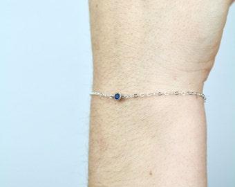 Sterling Silver Blue Zirconia Bracelet - TinyLittlePiecesShop