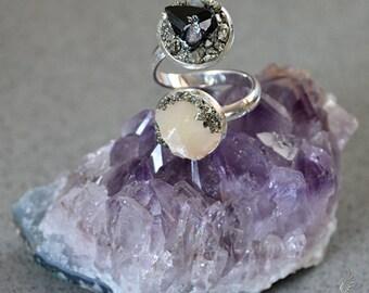 Opal Ring - Raw Crystal Ring - Raw Opal Ring - Rustic Ring - Black Tourmaline Jewelry - October Birthstone Ring - Gemstone Ring - Boho Ring