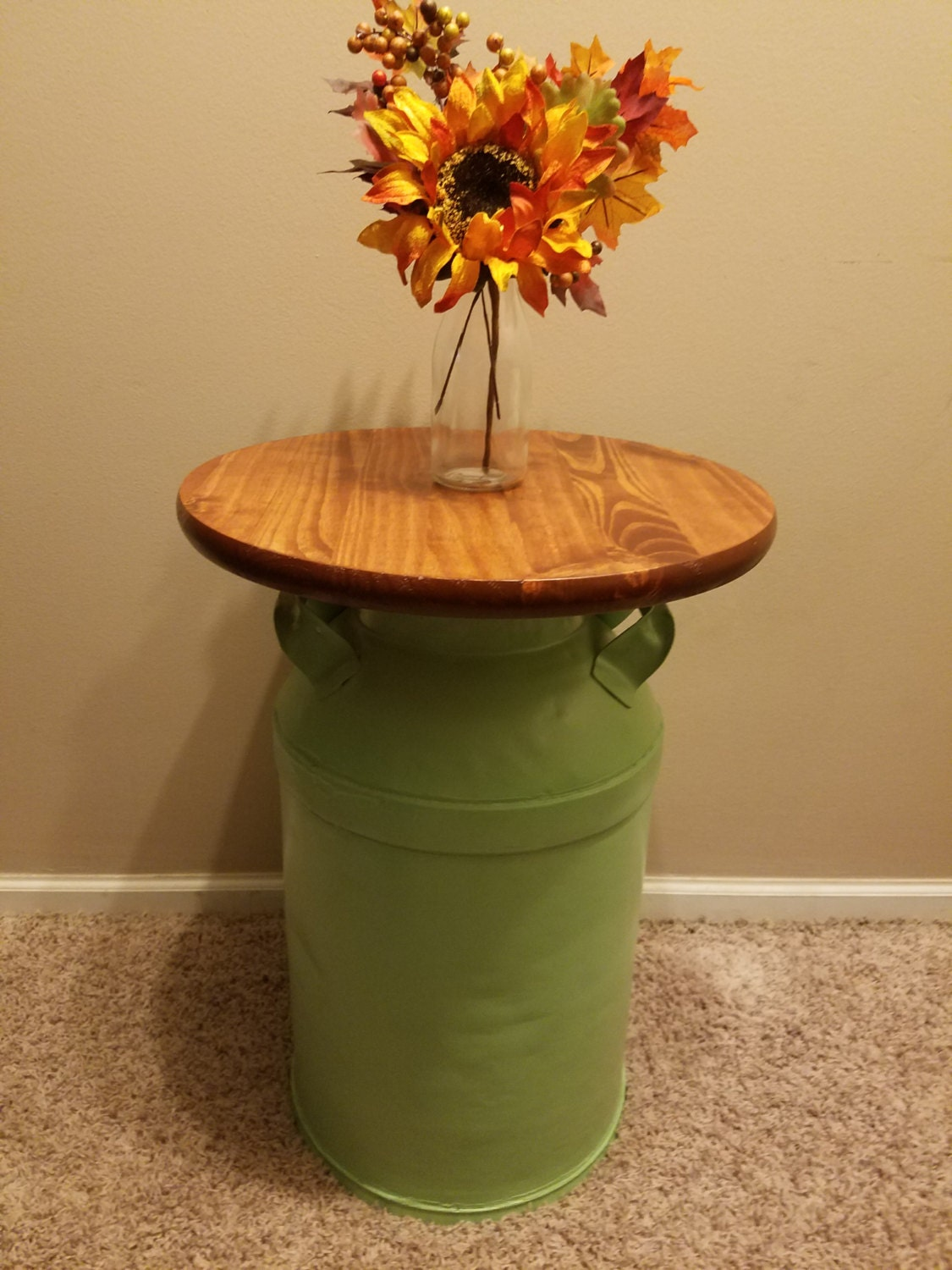 Vintage Milk Can End Table Authentic By Upfinishedfurniture