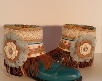 Size 9 Med Upcycled Justin Tourquoise Roper Women's Boots