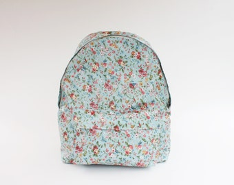 Small Wild Flower Waterproof Backpack (Mint) girls, school backpacks, middle high college students, women, lovely flowery style, daughter