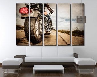 Chopper Wall Art Multi Panels Set Motorbike Rear View Wall Art  Motorcycle Canvas Art Interior Design Art  Digital Giclee
