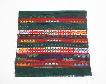 Dark Green Tribal Textile Crafts Patchwork Fabric